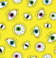 Eye drawing stitch patch icon seamless pattern vector image