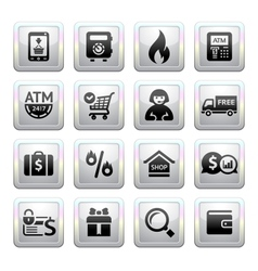Shopping icons square gray web 20 icons vector