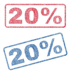 20 percent textile stamps vector image