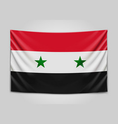 Hanging flag of syria syrian arab republic vector