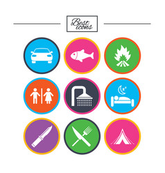 hiking travel icons camping shower and toilet vector image