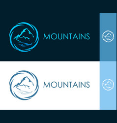 Round icon with mountain in circle vector