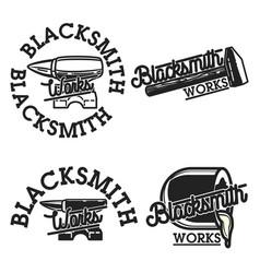 Color vintage blacksmith emblems vector