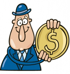 man with dollar coin vector image
