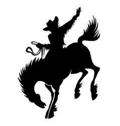 Cowboy at rodeo silhouette vector