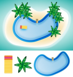 Swimming pool island summer elements vector