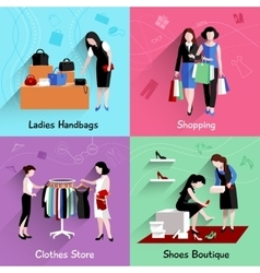 Woman Shopping Flat Set vector image