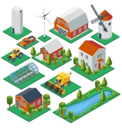 Isometric rural buildings and cottages 3d tractor vector