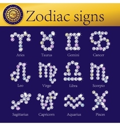 Zodiac signs full set of shining vector