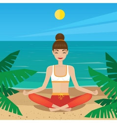 Girl sitting in yoga pose padmasana on the beach vector
