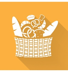 Basket and bakery elements with long shadow vector