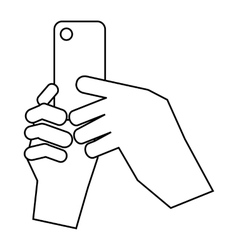 Hands holding cell phone icon outline style vector