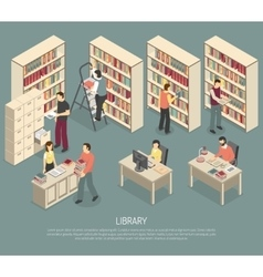 Documents library archive interior isometric vector