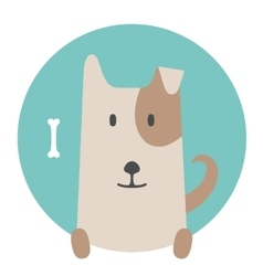 Animal set portrait in flat graphics - dog pet vector
