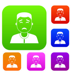asian man set color collection vector image vector image