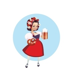 Attractive woman in dirndl with beer and pretzel vector