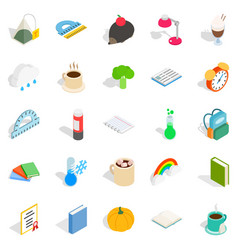 Autumn party icons set isometric style vector