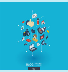 blogging integrated 3d web icons digital network vector image