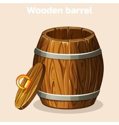 cartoon open wooden barrel game elements vector image vector image