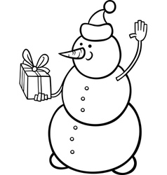christmas snowman coloring page vector image