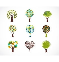 Collection of green tree - logos and icons vector image vector image