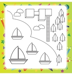 Coloring book with ships - vector