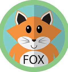 Cute fox cartoon flat icon avatar round circle vector image