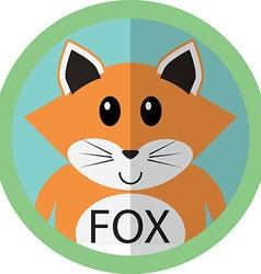 Cute fox cartoon flat icon avatar round circle vector