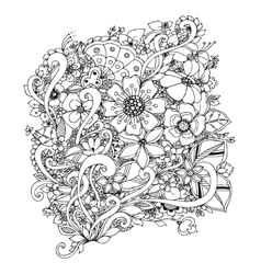 flowers zentangle doodle vector image vector image