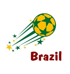 Flying brazil soccer or football ball vector image vector image