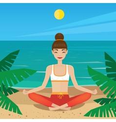Girl sitting in yoga pose padmasana on the beach vector