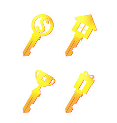 Gold key icon business symbol vector