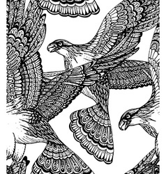 hand drawn seamless pattern with decorative eagles vector image vector image