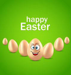 happy easter card with funny egg humor invitation vector image vector image