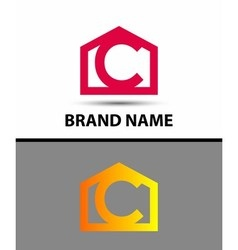 Letter c logo with home icon vector image vector image
