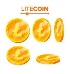 litecoin gold coins set flip different vector image vector image