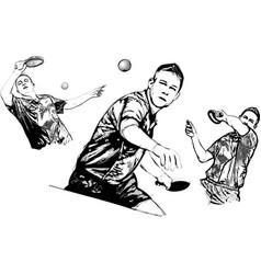 ping pong trio vector image vector image