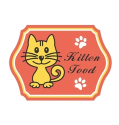 Pretty kitten food label vector