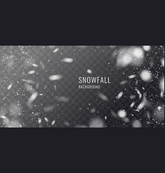 Realistic snowfall against a dark vector