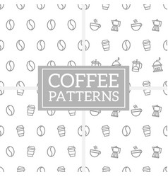 set of geometric coffee pattern in memphis style vector image