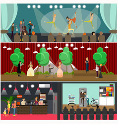 Set of opera art concept posters in flat vector