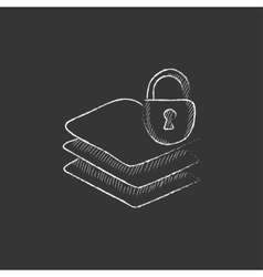 Stack of papers with lock Drawn in chalk icon vector image vector image
