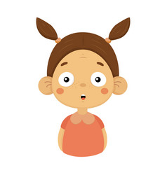 Surprised little girl flat cartoon portrait emoji vector