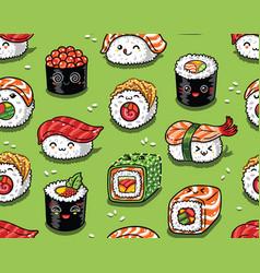 Sushi and sashimi seamless pattern in kawaii style vector