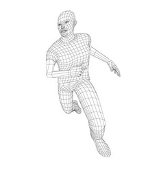Wire frame running man vector