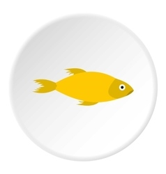 Yellow marine fish icon flat style vector image vector image