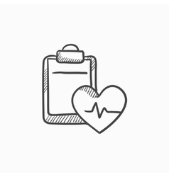 Heartbeat record sketch icon vector