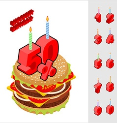 Discounts birthday when buying hamburger candles vector