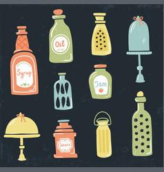 Vintage jars vector