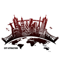 Landmarks from around world in grunge style vector
